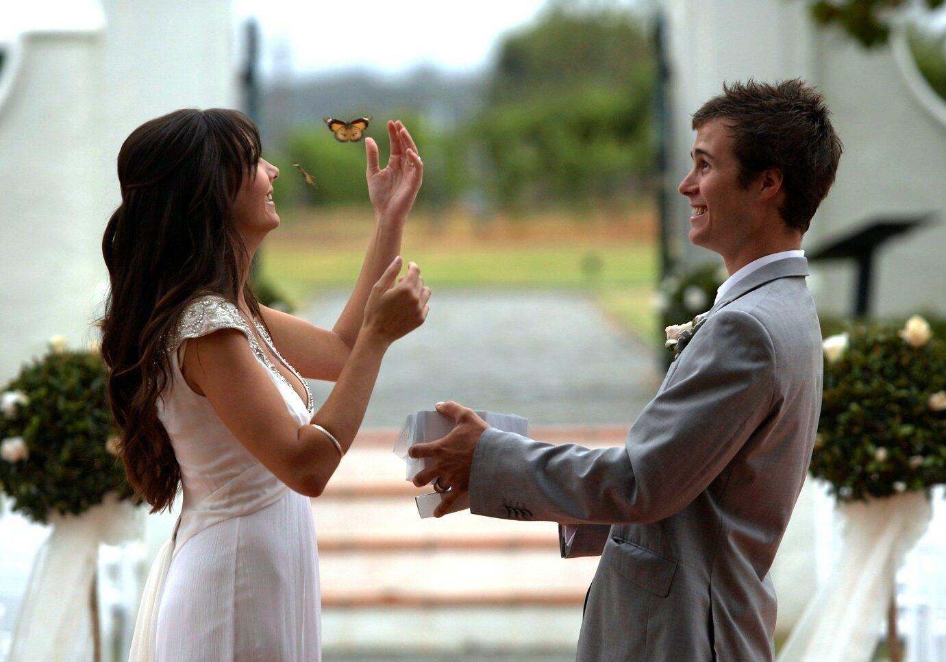 spust metuljev na poroki